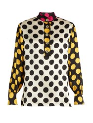 Duro Olowu Large Polka Dot Print Silk Satin Blouse Black Yellow