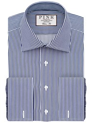 Thomas Pink Grant Classic Fit Double Cuff Stripe Shirt Navy White