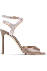 Jimmy Choo Helen Glitter Trimmed Satin And Suede Sandals Antique Rose