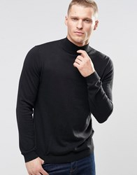 Asos Turtleneck Jumper In Black Cotton Black