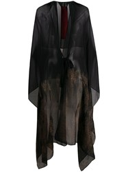 Masnada Draped Silk Tied Kaftan Black