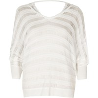 River Island White Ladder Knit Batwing Jumper