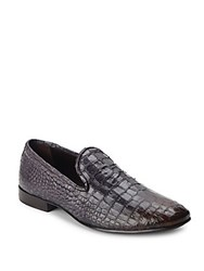 Jo Ghost Embossed Leather Dress Loafers Dark Brown