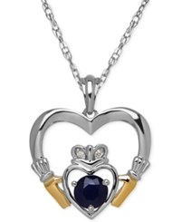 Macy's Sapphire 2 3 Ct. T.W. And Diamond Accent Heart Pendant Necklace In Sterling Silver And 14K Gold