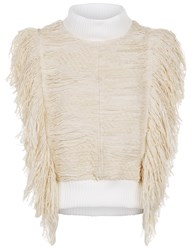 Sea Ivory Fringed Sleeveless Knitted Top Cream