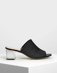 Charles And Keith Embossed Fabric Mules Black