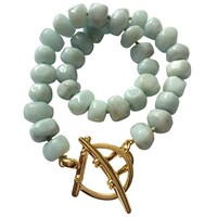 Catherine Canino Jewelry Blue Agate Nautical Toggle Necklace Gold