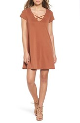 Socialite Women's Cross Front T Shirt Dress Mocha