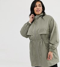 Asos Design Curve Lightweight Parka With Jersey Lining Green