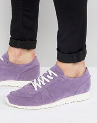 Asos Retro Trainers In Relaxed Purple Faux Suede Lilac