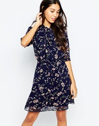 Style London Pussybow Skater Dress In Mini Floral Print Blue
