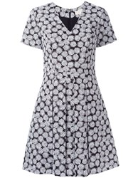Michael Michael Kors Leaf Print Flared Dress Black