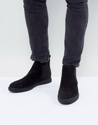 Asos Chelsea Boots In Black Faux Leather With Creeper Sole Black