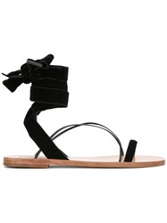 Valentino Lace Up Ankle Sandals Black