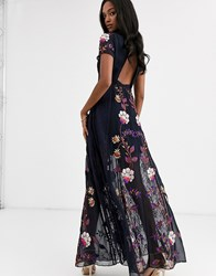Frock And Frill Embellished Cut Out Back Short Sleeve Maxi Dress Navy