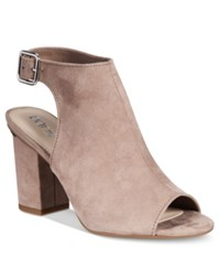 Bar Iii Marli Block Heel Shooties Only At Macy's Women's Shoes Taupe