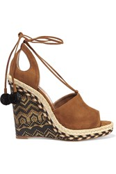 Aquazzura Palm Springs Cutout Suede Espadrille Wedge Sandals Tan
