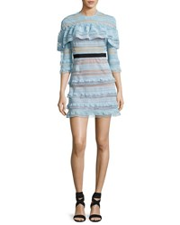 Self Portrait Grid Stripe Frill 3 4 Sleeve Mini Dress Light Blue
