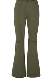 Loewe Button Detailed Cotton Twill Flared Pants Army Green