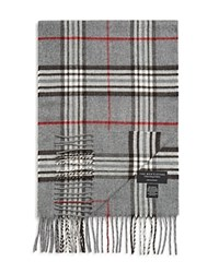 The Men's Store At Bloomingdale's Plaid Scarf Light Grey Red