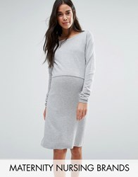 Mama Licious Mamalicious Nursing Double Layer Knitted Long Sleeve Dress Gray