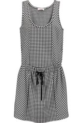 See By Chloe Houndstooth Cotton Blend Jersey Dress Black
