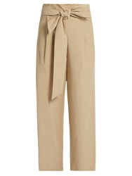Masscob Wide Leg Cropped Trousers Beige