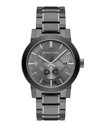 Burberry 42Mm Stainless Steel City Bracelet Watch Black
