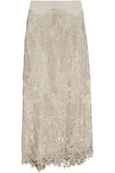Donna Karan New York Embroidered Tulle Maxi Skirt Mushroom