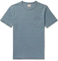 Faherty Striped Cotton Jersey T Shirt Light Blue