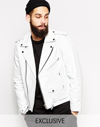 Reclaimed Vintage Leather Biker Jacket White