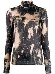 Acne Studios Bleach Print Turtleneck Top Neutrals