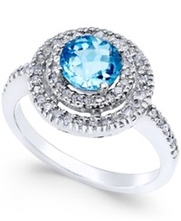 Macy's Blue Topaz 1 Ct. T.W. And Diamond 3 10 Ct. T.W. Halo Ring In 14K White Gold