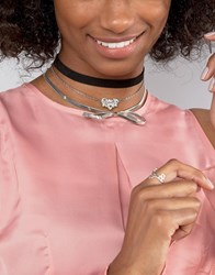 New Look Multi Row Bow Choker Necklace Clear Black