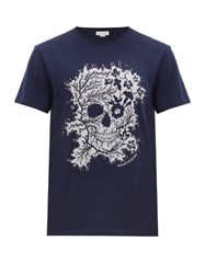 Alexander Mcqueen Foliage And Floral Skull Print Cotton T Shirt Blue Multi