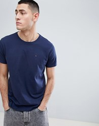 Tommy Jeans Crew Neck T Shirt In Navy Black Iris
