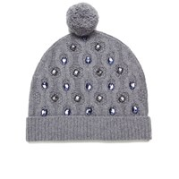 Markus Lupfer Women's Cable Knitted Jewel Beanie Hat Grey