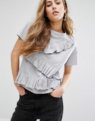 Daisy Street T Shirt With Ruffle Trim Grey