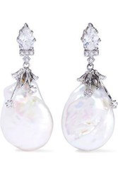 Cz By Kenneth Jay Lane Silver Tone Crystal And Faux Pearl Earrings Silver
