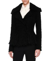 Alexander Mcqueen Textured Boucle Peplum Jacket Black