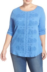 Plus Size Women's Lucky Brand Paisley Embroidered Tee