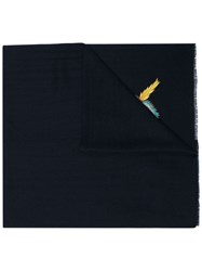 Janavi Navy Embroidered Parrot Cashmere Scarf Blue