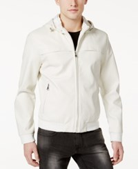 Inc International Concepts Men's Faux Leather Hooded Jacket Only At Macy's White