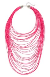 Topshop Women's Multistrand Cord Necklace Pink Neon