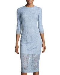 Monique Lhuillier Three Quarter Sleeve Lace Overlay Dress Sky Blue