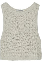 Autumn Cashmere Cropped Open Knit Cotton Sweater Taupe