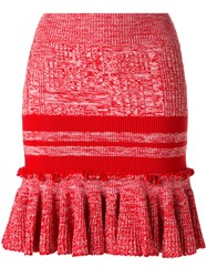 Alexander Mcqueen Knitted Peplum Skirt Red