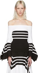 Rosetta Getty Black And White Scarf Hem Off The Shoulder Blouse