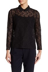 The Kooples Lace And Studs Long Sleeve Blouse Black