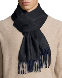 Begg And Co Reversible Cashmere Scarf W Fringe Navy Charcoal Navy Grey